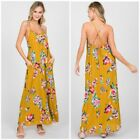 Mustard Floral Woven Maxi Sleeveless Dress Casual Print Womens S M L