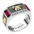Men's Two Tone 0.925 Sterling Silver Shriner Simulated Ruby Masonic Ring Band