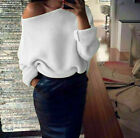 UK Womens Off Shoulder Long Sleeve Knitted Jumper Top Oversize Sweaters Blouses