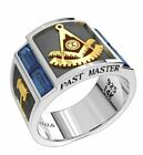 Past Master Two Tone Sterling Silver & Yellow Gold Simulated Sapphire Mason Ring