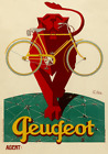 Peugeot Vintage Bicycle Poster Print Art Advertisement Cycling Art Deco Bike