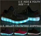 Внешний вид - Kids Youth LED Light Up Sneakers Luminous Shoes Boys Girls USB Charger Lace Up