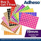 Adheso 19mm Coloured Dot Stickers Round Sticky Dots Adhesive Circles Labels