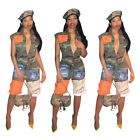 Fashion Women Short Sleeve Camouflage Patchwork Zipper Casual Cropped Jumpsuit