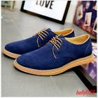 Mens Faux Suede Lace Up Oxfords Flat Casual Low Top Work Shoes