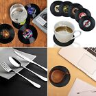 Retro CD Record Style Coffee Drink Cup Mat Coasters 4/6 Pcs w/Knife/Fork/Spoon