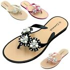 Внешний вид - NEW Women's Flower Pearl Rhinestone Sandals Flat Jelly Thong Flip Flops 6 to 11