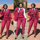 Red Women Suit Ladies Double Breasted Plus Size Office Tuxedos Formal Work Wear