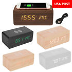 Modern Wooden Digital LED Desktop Alarm Clock Thermometer Qi Wireless Charger