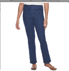 Croft  & Barrow Women's Straight Leg Mid Rise Comfort Waist  Pull On Pants