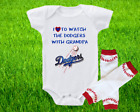 Los Angeles Dodgers Outfit Onesie And Leggings Set Watching WIth Grandpa on Ebay
