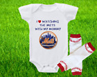 New York Mets Outfit Onesie And Leggings Set Watching WIth Mommy on Ebay