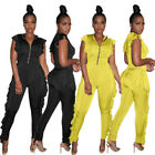 Women Sleeveless Ruffled Solid Color Zipper Casual Club Bodycon Long Jumpsuit
