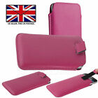 Pink Leather Slim Pull Tab Phone Cover Pocket Pouch For Motorola Moto G7 Power