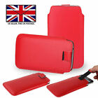 Red Leather Slim Pull Tab Phone Cover Pocket Pouch For Motorola Moto G7 Power