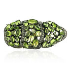 13.8 ct Peridot Diamond 18 kt Gold 925 Sterling Silver Full Finger Ring Jewelry