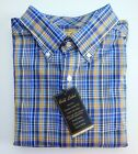 NWT Gold Label Roundtree & Yorke Blue Gold Check Men's Shirt Big Tall Many Sizes