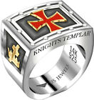 Mens 0.925 Sterling Silver & 14k Yellow Gold Freemason Knights Templar Ring Band