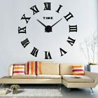 NEW Large Roman Number 3D Wall Clock Modern Diy Home Decor Mirror Surface Decal