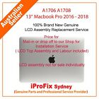 """Apple Macbook Pro13"""" Retina A1706 A1708 Complete Lcd Screen Assembly Grey Silver"""