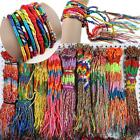 Handmade 100pcs Colorful Hippie Rope Bracelet Thread Woven Friendship Cord Gift image