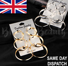 3 Pairs Thick Silver Gold Hoop Earrings Round Chunky Hoops Uk Statement Trendy