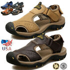 Men Summer Hiking Leather Sandals Wading Closed Toe Fisherman Soft Beach Shoes 7