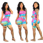 Summer Women Sleeveless Tie Dye Print Casual Club Jumpsuit Short Outfits 2pcs