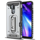 For LG G7 ThinQ Shockproof Armor Rugged Card Pocket Rubber Case+Tempered Glass