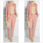 Pink Women Business Suits Slim Fit 2 Piece Formal Work Wear Video Suits Custom