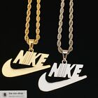 Nike Swoosh Pendant Charm With Chain Gold/Silver Necklace | FREE 24HR Shipping image