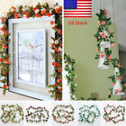 1-5x Fake Silk Rose Flower Artificial Ivy Vine Garland Wall Home Floral Decor Us