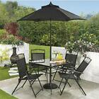 4  Seat Garden Dining Set Outdoor Patio Furniture Table Chairs Parasol 2 Colours