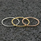 1mm Thin Stainless Steel Band Ring Simple Women Tail Ring Couple Ring Size 5-10