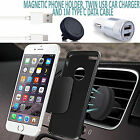Magnetic Air Vent Car Phone Holder+Dual In Car Charger+USB Charging Cable SILVER