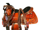 PRO WESTERN ROPING SADDLE 15 16 17 RANCH WORK TOOLED PAINTED LEATHER HORSE TACK