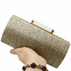 Straw Women Metal Clutches Chain Shoulder Bag Ladies Evening Dinner Box Handbags