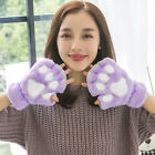Women Cat Claw Paw Gloves Cute Plush Winter Warm Short Half Finger Mitten New