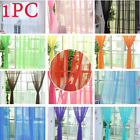 Pure Color Tulle Door Window Curtain Drape Panel Sheer Scarf Valances Curtain