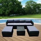 Rattan Garden Furniture Patio Corner Sofa Set Outdoor Table And Chairs Stools