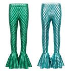 Kids Girls Flared Frill Trousers Shiny Fish Scales Bell Bottoms Mermaid Leggings