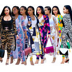 Women long sleeves coats  bodycon pants print casual club jumpsuit outfits 2pc