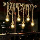 Retro 6 Lamp Hemp Rope Chandelier Lighting Twisted Flaxen Rope Country Style