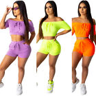 Women boat neck short sleeves solid color casual sports short outfits 2pc