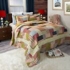 Country Patchwork Style Printed Twin XL Queen King Quilt Set Coverlet Cottage image