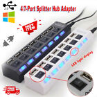 4/7-Port USB 2.0 Hub w/ High Speed Adapter ON/OFF Switch for Laptop PC Splitter