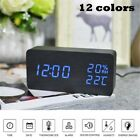Modern LED Wood Alarm Clock Temperature Humidity Electronic Desk Digital Table