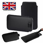 Black Leather Slim Pull Tab Phone Cover Sleeve Pouch For Panasonic Eluga Ray 600