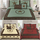 5 PIECE Texas Rustic Western Design Star Barbed Wire Quilt BedSpread (New Style) image