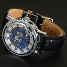 Men's Fashion Sport Stainless Steel Skeleton Leather Automatic Mechanical Watch image